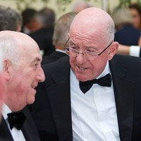 Justice Minister Charlie Flanagan shares a joke with Mr Justice Peter Kelly, President of the High Court