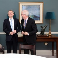 Mr Justice Michael Twomey shares a joke with Law Society President Michael Quinlan