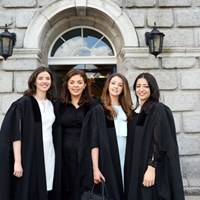 Ruth Foy, Anne Marie Miley, Jessica Boyne and Jennifer Abdelhaken at the Law Society doorway
