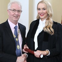 President of the Law Society Michael Quinlan with Nicola Haughey of Omagh, Co Tyrone