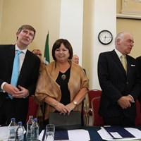 Law Society Director General Ken Murphy and Mr Justice Patrick McCarthy with Mary Harney
