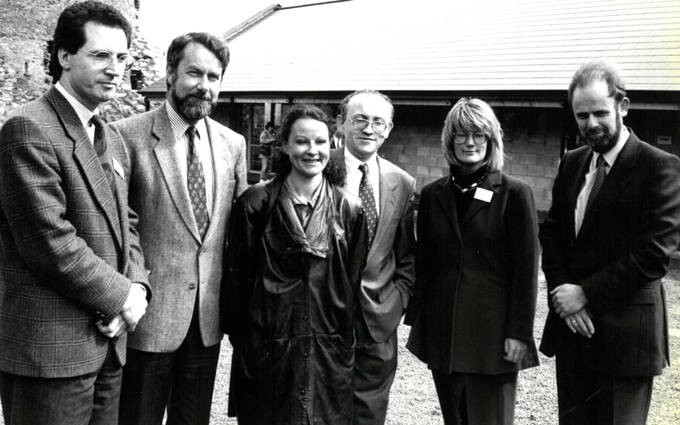 Kieran McGrath, BLS committee; Professor William Duncan, Trinity College law department; the late Dr Muireann Ní Bhrolcháin, lecturer in Celtic Studies, Maynooth University; Brian Sheridan, (now Judge) convenor; Mary Hawkes-Greene, president Burren College of Art and Judge Sir Anthony Harte at inaugural 1994 Burren Law School on theme of woman and family in Irish law – a Brehon perspective with keynote given by Minister Mervyn Taylor.