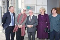 FLAC chair Peter Ward, Shivaun O'Casey, daughter of Sean O'Casey, President Michael D Higgins, Sabina Higgins and Eilis Barry of FLAC