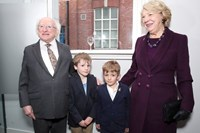 President Higgins, brothers Robbie and Darragh Kelly and Sabina Higgins