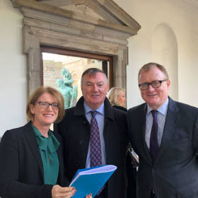 Helen Coughlan, Seán Ó Hullacháin SC and Keith Walsh at today's Dáil Committee hearing